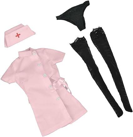 1/6スケール ナース制服(スーツ ) ストッキング キャップ 下着 セット 12インチ女性アクションフィギュアに適用 アクセサリー (白色/ピンク)選べる - ピンク