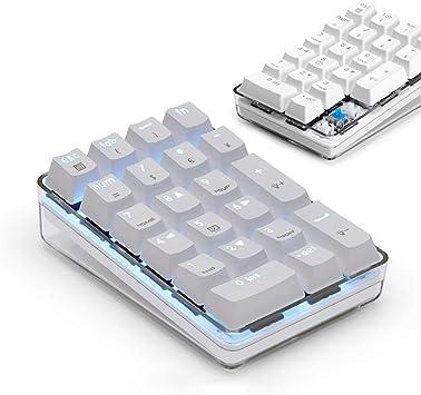 テンキーパッド青軸メカニカルポータブルUSB着脱式 5000万回高耐久 白いバックライトモード付き iMac MacBooks PC Laptops 対応 (青軸 白)