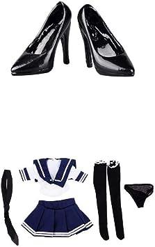 1/6スケール 人形セーラー服 ドールJK制服 人形服 人形ハイヒール靴 12インチフィギュア用