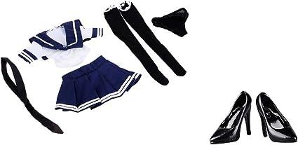1/6フィギュア セーラー服 JK制服 ハイヒール靴 人形飾り 12インチ人形モデル用
