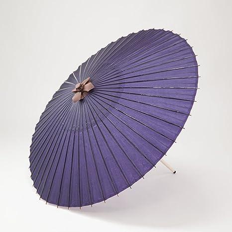 和傘 蛇の目傘 直径105cm 長柄 羽二重 雨傘 防水 (紫)
