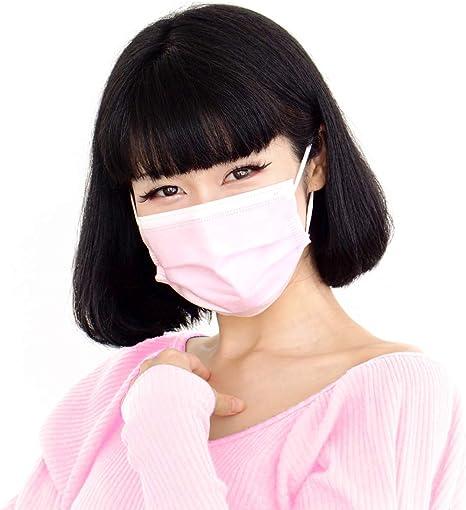 マスク 10枚入 ピンク 耳が痛くなりにくい 不織布 3層 大人用 約17.5cm9.5cm