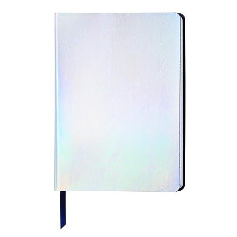 ノートブック | A5メモ帳 | PUホログラフィック虹色レーザー | ソフトカバー プレミアムライニングページ 192ページ、6×8インチ (銀色)