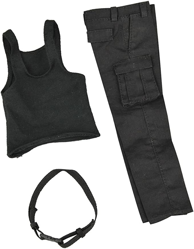ハンサム 黒色 ファブリック 製 1/6 ベスト ズボン セット 衣類 12 インチ 男性アクションフィギュアに対応
