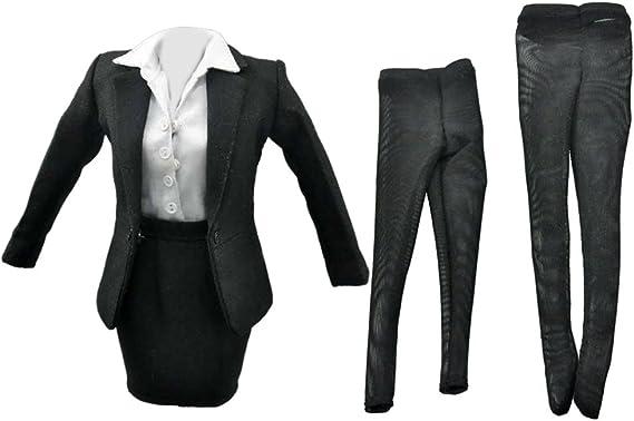 1/6 女性 黒 スカート スーツ 12インチ アクションフィギュア用 アクセサリー