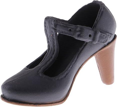 12インチ女性アクションフィギュアのため シューズ 靴 ハイヒール 3色選べる - ブラック2#