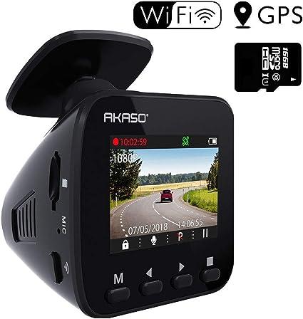 AKASO ドライブレコーダー 1296PフルHD 高画素 ドラレコ GPS搭載 170°広視野角 WIFI機能 高性能センサー WDR 暗視機能 ダッシュカム G-sens...
