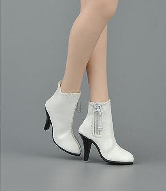 1/6 ショートブーツ フィギュア用 女性 フットパーツなし ドール 人形 アクセサリー 全3色 (白)