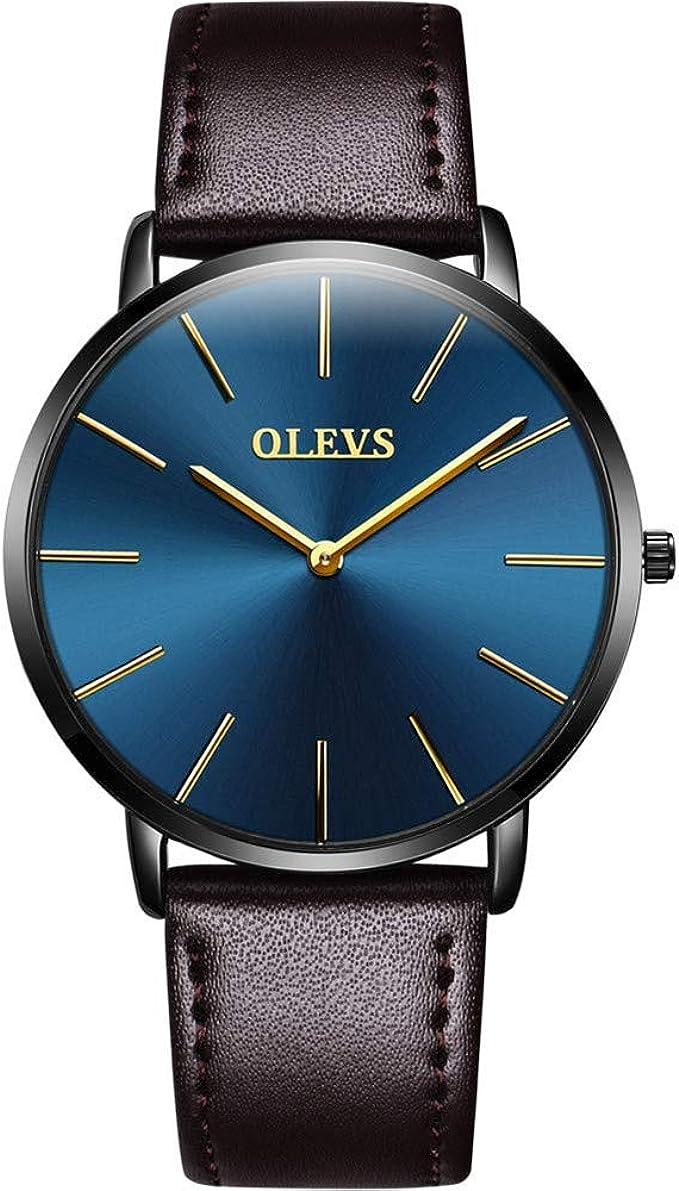 【2020最新型】腕時計 メンズ 極薄型 6.5MM シンプル ファッション カジュアル ビジネス ウオッチ 日本製クォーツムーブメント 40mm文字盤 本革バンド 男女兼用