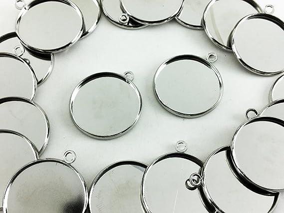 ノーブランド品 ミール皿 金古美 丸 20枚 シルバー 外径約22mm内径約20mm レジン台 カメオ台 セッティング台 レジンアクセサリー パーツ (AP0421)
