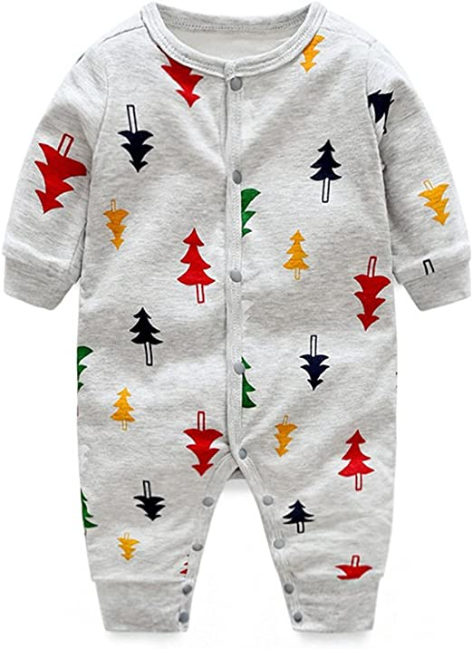 DWSIOOW 可愛いプリントカバーオール ベビー服 ジュニア ロンパース 前開き カジュアル 新生児 男の子 女の子 出産祝い プレゼント 8色選べる