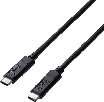 エレコム USBケーブル Type C (USB C to USB C) 1.0m USB3.1認証品 3A出力 最大10Gbps ブラック USB3-CC5P10NBK