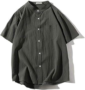 Tenflow 半袖シャツ メンズ 夏 半袖 綿麻シャツ カジュアル スタンドカラー リネンシャツ 復古 ゆったり サマーウエア M-5XL dsa022-hc20213
