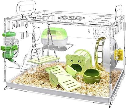 YOKITOMO ハムスターケージ 透明の二代目 ハムスターハウス トレーデザイン お掃除しやすい! 通気 2階デザイン 持ち運びやすい エコなアクリル製 (緑セット)