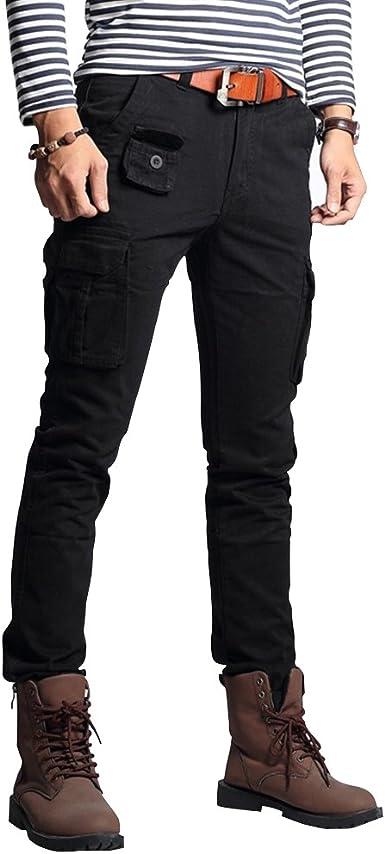 メンズズボンファッションミリタリーカーゴパンツスリムレギュラーストレートフィットコットンマルチカラーアーミーオーバーオールパンツ