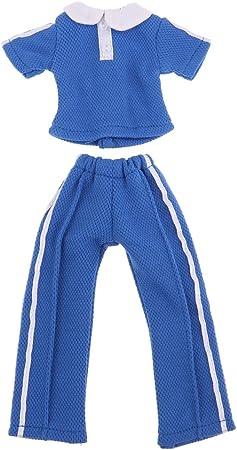 人形ドールアクセサリー 1/6スケールのBJDファッションドール トップス ズボン 学校制服スーツ