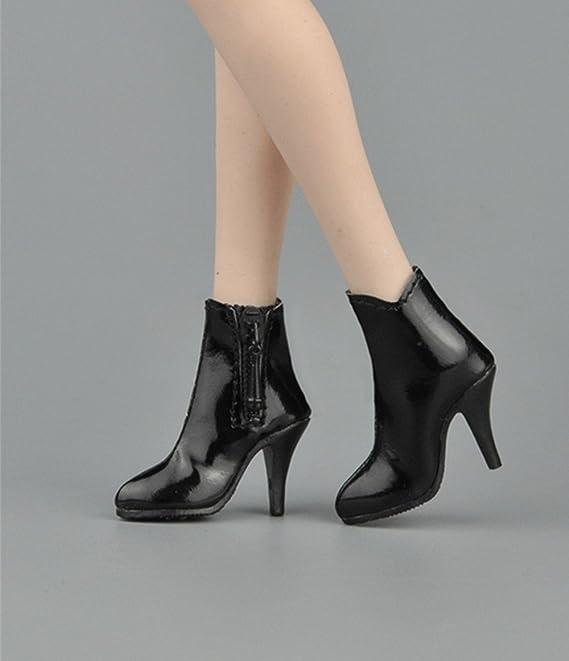 1/6 スケール ショートブーツ ブーツ 靴 ドール 兵士 女性 12インチ PHICEN 1/6素体 (ブラック)