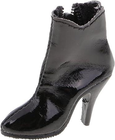 Dovewill 12インチ アクションフィギュアボディ対応 ドール 人形用 流行 1/6スケール ハイヒール アンクル ブーツ 靴 全3色選ぶ - ブラック