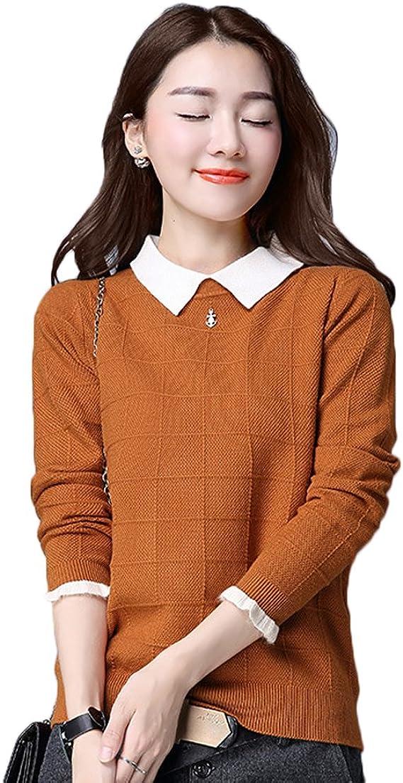 [美しいです] セーター レディース ニット ゆったり トップス 秋 冬 シンプル 無地 カットソー カジュアル 厚手 長袖 冬服 暖かい モックネック 偽二枚
