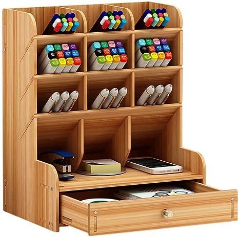 卓上収納ケース 机上収納ボックス 収納 整理整頓 机上用品 オフィス収納 小物入れ 筆差し 仕切り デスク上置き棚 大容量 ブラウン