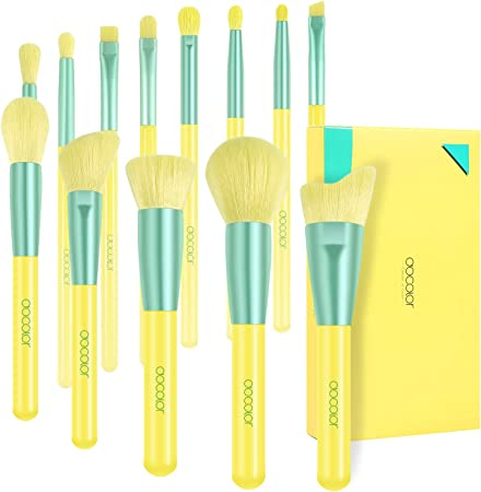 【オススメ】docolor ドゥカラー 化粧筆 贅沢なメイクブラシ 13本セット あざやかな黄 最高級のタクロンを100%使用