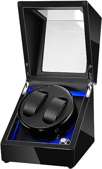 Topnaca ワインディングマシーン 高級2本巻きウォッチワインダー収納ケース ス木製ピアノ調塗装鏡面仕上げ時計自動巻きレディース、メンズ時計対応