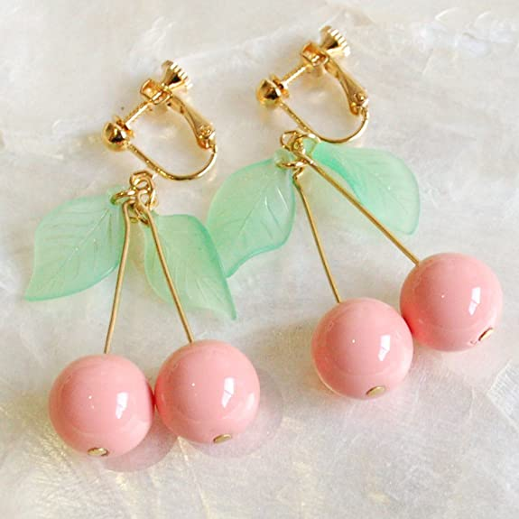 【Gargle/ガーグル】 sweet cherry イヤリング / ピンク