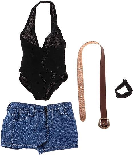 1/6 ローカット ボディスーツ デニムショーツ 人形服セット 12インチ女性フィギュア用