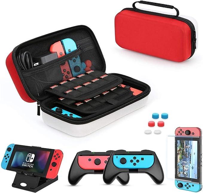 ニンテンドースイッチ ケース AISITIN【6in1 Nintendo Switch アクセサリ】 Switch保護収納ケース+ 強化ガラスフィルム+ Switchスタンド...
