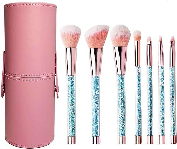Dinetry メイクブラシ 7本セット 化粧筆 ファンデーションブラシ フェイスブラシ 高級毛質 収納ケース付き ピンク