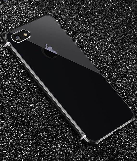 Uovon メタルバンパー ケース iPhone 6 Plus 対応 アルミ製フレーム バックプレート スクラッチ保護 耐衝撃 カバー、ブラック