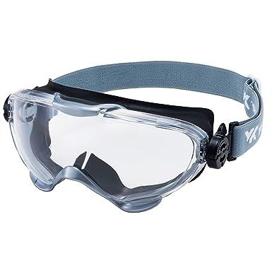 山本光学 YAMAMOTO YG-6000 ゴーグル(バックルなし) マスク併用可 レンズにキズがつきにくい ブラック×シルバー PET-AF(両面ハードコートくもり止め) ...