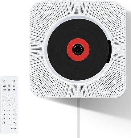 CDプレーヤー VIFLYKOO 新型 置き&壁掛け式 Bluetooth/FM/USB対応 ポータブルCDプレーヤー コンパクト 家庭用 ステレオ音楽システム 音楽再生/語...
