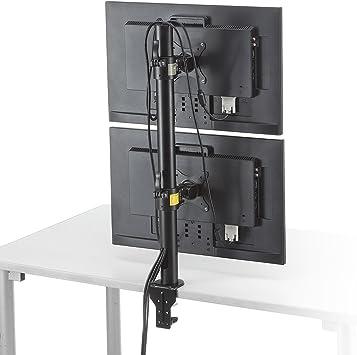 サンワダイレクト モニターアーム デュアルモニター対応 上下2台設置 クランプ固定 100-LA031