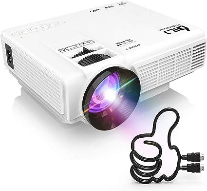 DR.J LED プロジェクター 小型 4000ルーメン 1080PフルHD対応 [720Pネイティブ] HDMIケーブル付属 台形補正 パソコン/スマホ/タブレット/ゲーム...