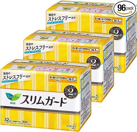 【まとめ買い】 ロリエスリムガード しっかり昼用羽なし 20.5cm 32コ入 × 3セット(96コ)