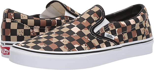 [VANS(バンズ)] メンズスニーカー・靴 Classic Slip-On (Checkerboard) Camo Desert/True White Men's 7, W...