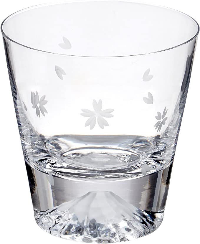 田島硝子 富士山 ロックグラス 桜富士 TG16-015-RS (桜風呂敷包み)