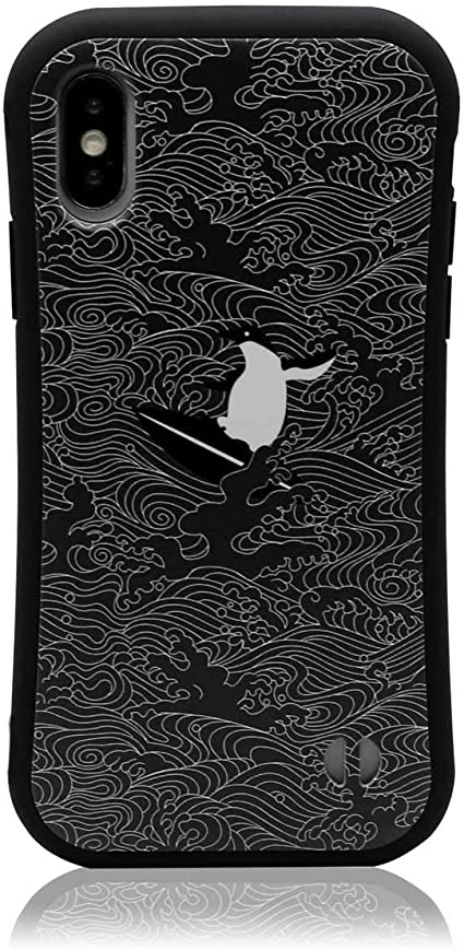 MRLab iPhoneXS/iPhoneX ケース 和柄 海 シンプル 【 波 ペンギン 耐衝撃 バンパー 】黒 673
