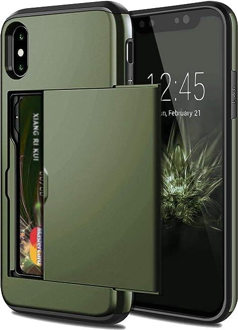 Iphone X Xs Max Xr 7のアーマースライドカードケースIphone 7 8カードスロットホルダーカバーIphone 7 8 Plus Xr XケースIphon...