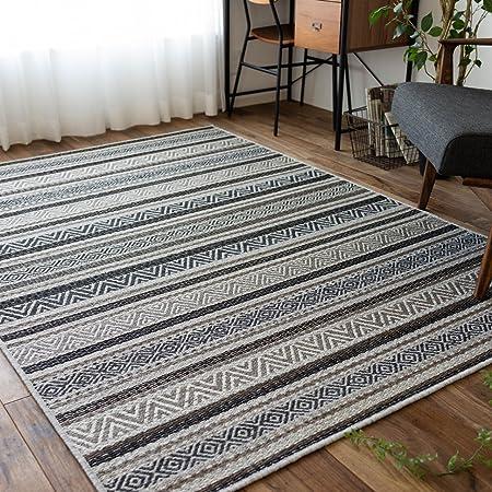 ネイティブ 幾何学 キリム ウィルトン織り ラグ マット ブライトン 140x200 cm ブラウン 1.5畳 ベルギー製 ホットカーペットカバー 床暖房 対応