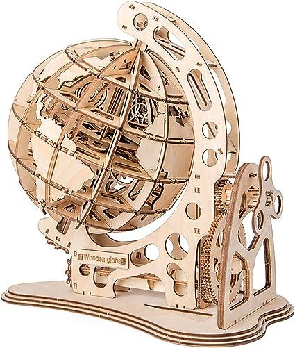 HAMILO 組み立て式木製地球儀 木製模型 組み立て模型 木製置物 おもちゃ (ナチュラルウッド)
