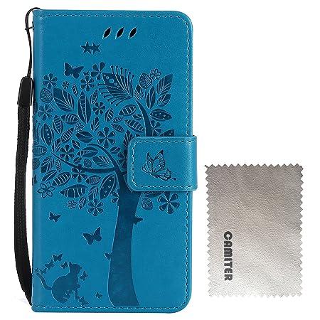 Camiter Sony Xperia XZ/XZs 手帳型 ケース、青 木の猫のデザイン Uniqe 軽量 ポケット カード収納 スタンド機能 [高級 PU レザー+TPU...