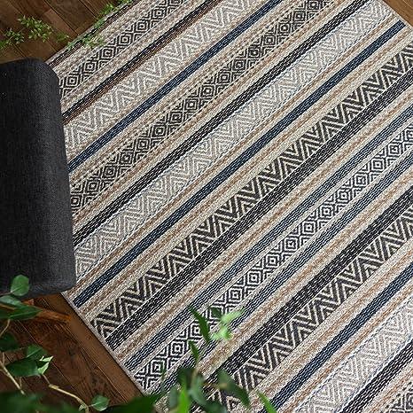 サヤンサヤン キリム ラグ マット ブライトン 200x200 2畳 ブルー ベルギー ウィルトン織