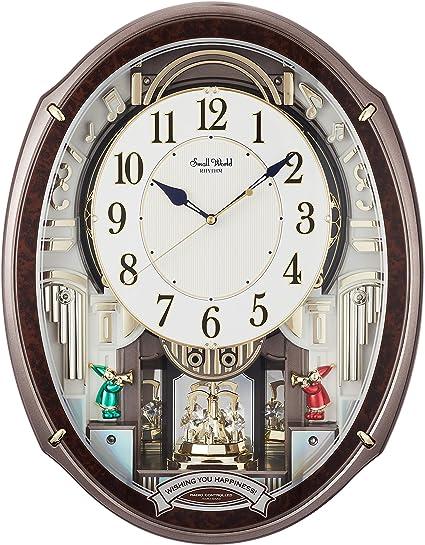 リズム(RHYTHM) 掛け時計 ブラウン 49.9×38.9×10.8cm 電波時計 からくり時計 48曲メロディ付き アルディ 4MN545RH23