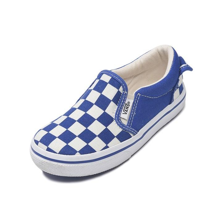 キッズ 【VANS】 SLIP ON ヴァンズ スリッポン V98CJ CHECK BLUE/CHECK