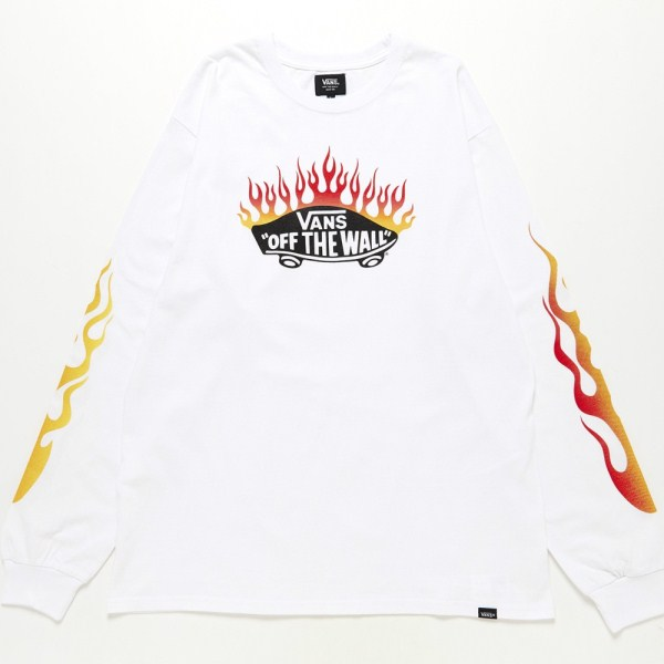 【VANSウェア】Burning OTW L/S T-Shirt ヴァンズ ロングスリーブTシャツ VA19SS-MT12 WHITE