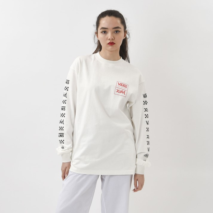 【VANS×X-girl】W Logo L/S-T ヴァンズ ロングスリーブTシャツ 120H3020138 WHITE