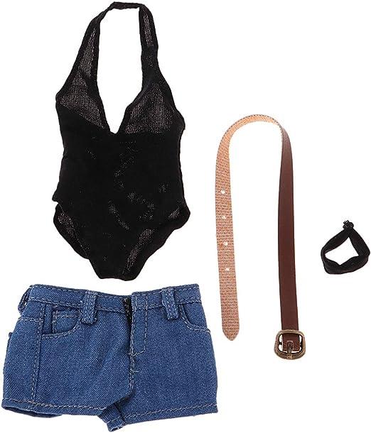 P Prettyia 1/6 ローカット ボディスーツ デニムショーツ 人形服セット 12インチ女性フィギュア用
