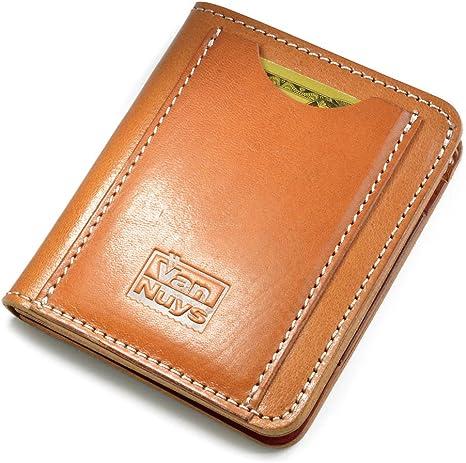 バンナイズ (VanNuys) 胸ポケット に 入る ランチ 財布 「 社長 仕様 」 / ビンテージ オイル シュリンク レザー (キャメル)